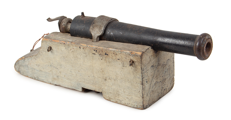 Antique Percussion Cap Signal Cannon, Saluting Cannon on Carriage, entire view 1