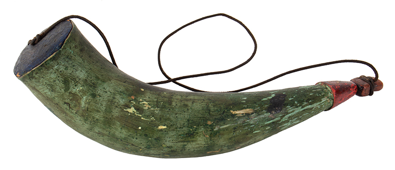 Powder Horn, Carved Plug, Painted, Black, Red & Green New England, entire view 2