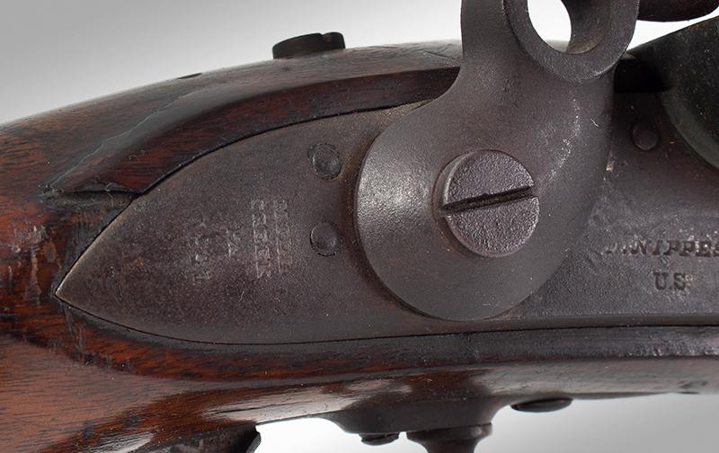 Model 1840 U.S. Flintlock Musket, Daniel Nippes, Mill Creek, Pennsylvania 42-inch .69-caliber single shot muzzleloader finished bright., lock plate detail