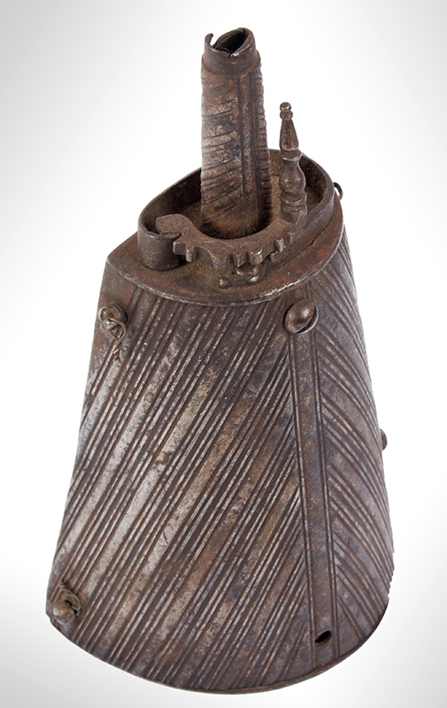 Seventeenth Century Iron Powder Flask, Likely Brescia, Italy, entire view 2