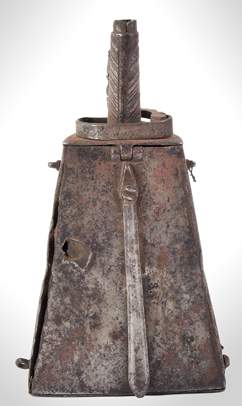 Seventeenth Century Iron Powder Flask, Likely Brescia, Italy, entire view 4