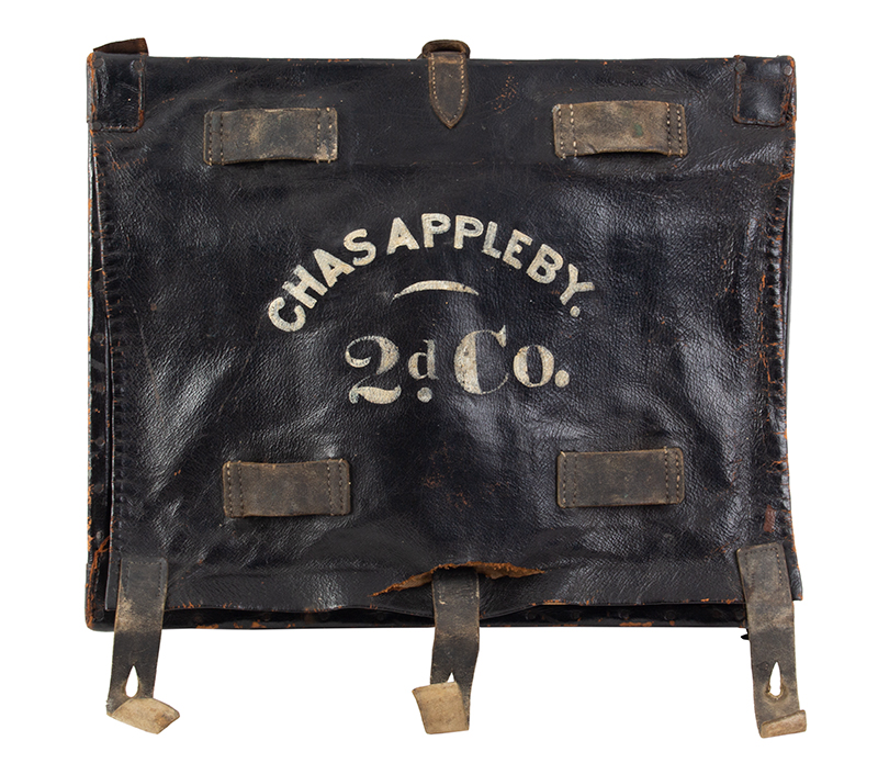 Identified Civil War Hard-Sided Knapsack, Major Charles Appleby The flap lettered: Charles Appleby – 2d Co, The back: NG / 7, entire view 1
