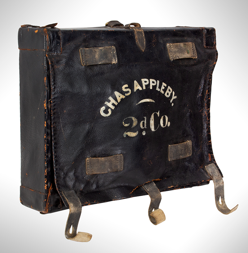 Identified Civil War Hard-Sided Knapsack, Major Charles Appleby The flap lettered: Charles Appleby – 2d Co, The back: NG / 7, entire view 3
