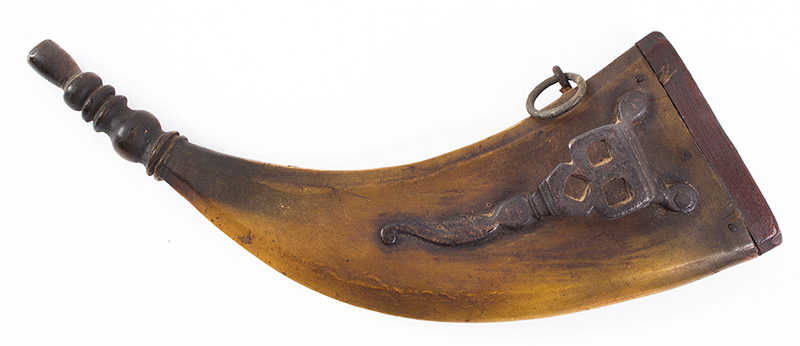 Wheelock, Flattened Horn Powder Flask with Three Socket Spanner Wrench An extremely rare accessory…, entire view 1