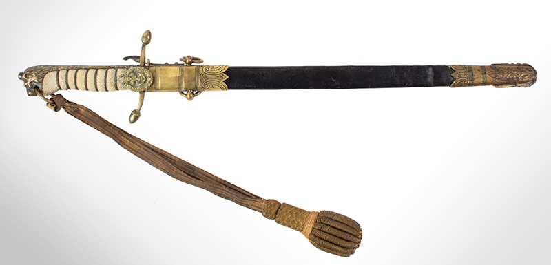 Royal Navy 1856 Pattern Midshipman Dirk Engraved with owner's name: R.S. WELLBY, entire view 1