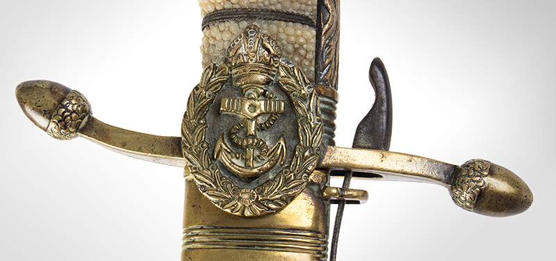Royal Navy 1856 Pattern Midshipman Dirk Engraved with owner's name: R.S. WELLBY, hilt detail 1