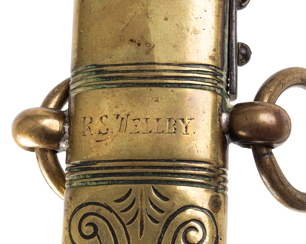 Royal Navy 1856 Pattern Midshipman Dirk Engraved with owner's name: R.S. WELLBY, scabbard detail 1