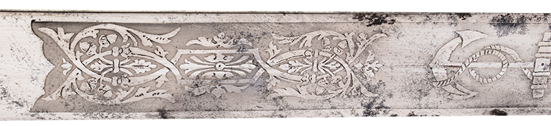 Royal Navy 1856 Pattern Midshipman Dirk Engraved with owner's name: R.S. WELLBY, blade detail 2