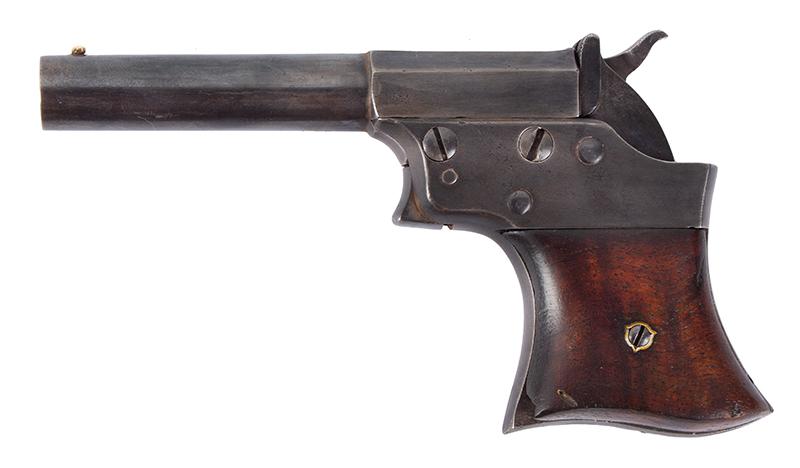 Pistol, Remington Vest Pocket, Saw Handle Derringer, left facing