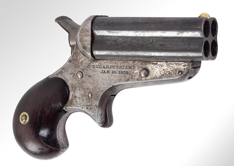 Sharps Pepperbox, Four Barrel Bulldog Derringer, Model 4, entire view 3