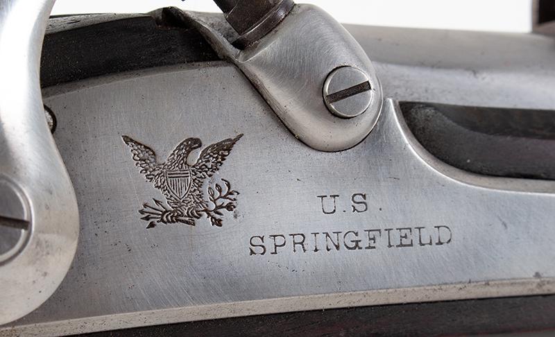 "Model 1861 U.S. Percussion Rifle-Musket, Springfield, Dated 1862 .58-Caliber Single Shot Muzzleloader, 40"" Barrel, lock plate detail 2"