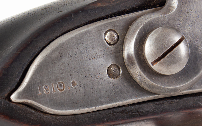US Model 1808 Contract Flintlock Musket, Sutton, Waters, Dated 1810, lock plate detail 1