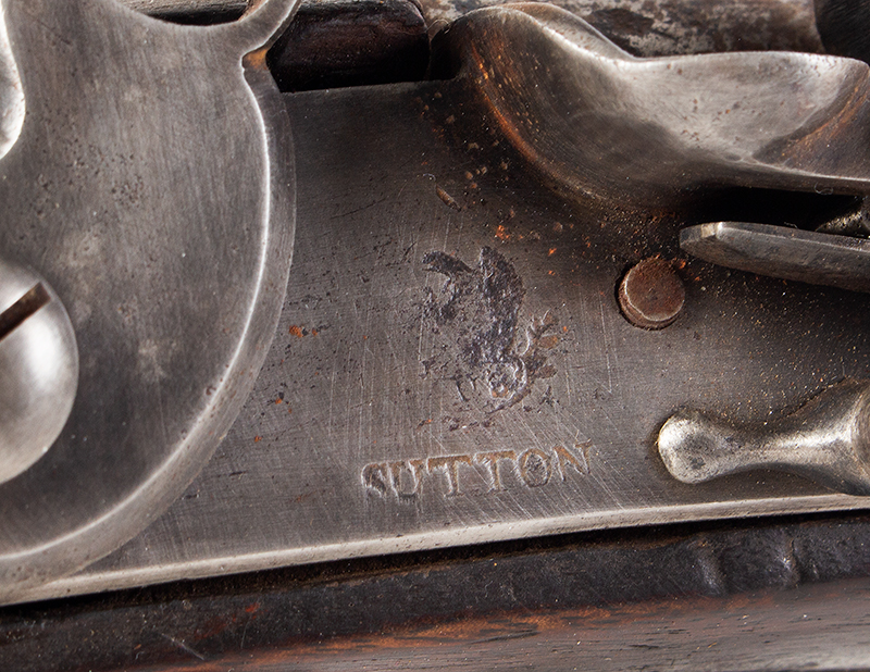 US Model 1808 Contract Flintlock Musket, Sutton, Waters, Dated 1810, lock plate detail 2