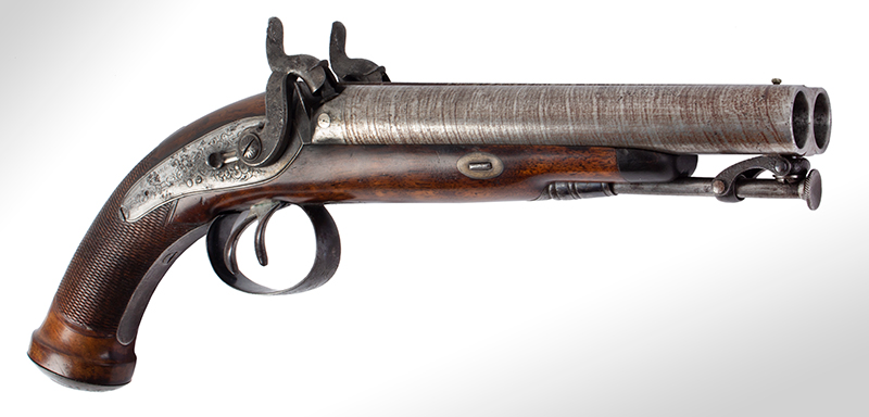Howdah Pistol, Double Barrel, entire view 1