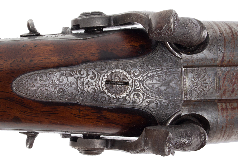 Howdah Pistol, Double Barrel, tang