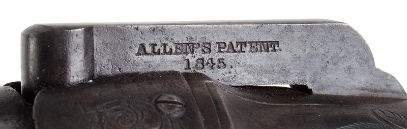Allen & Wheelock Pepperbox, Fluted Barrels, Nipple Shield, Engraved Worcester, Massachusetts, patent
