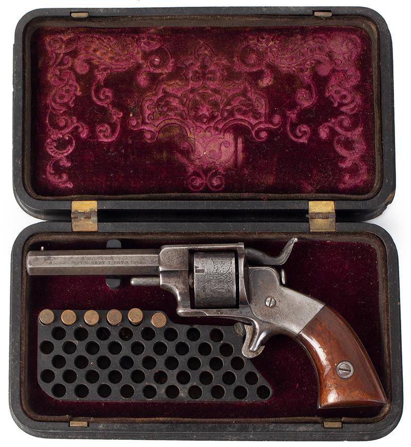 Model Allen & Wheelock Side Hammer Revolver, Third Issue, Cased, case view 1