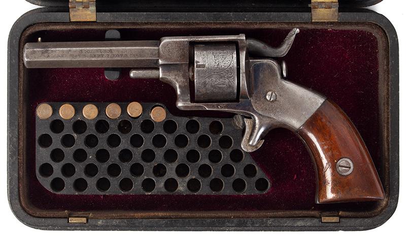 Model Allen & Wheelock Side Hammer Revolver, Third Issue, Cased, case view 2