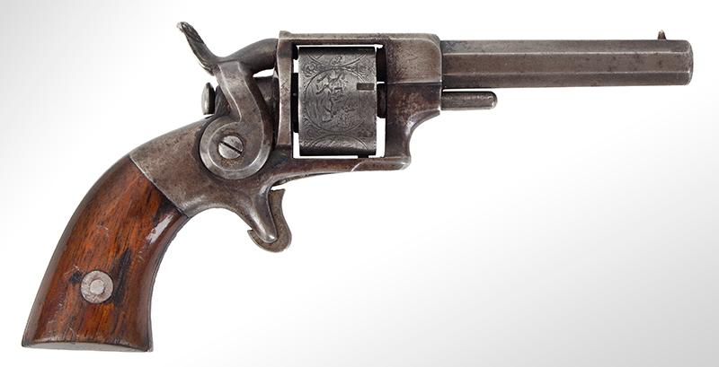 Model Allen & Wheelock Side Hammer Revolver, Third Issue, Cased, right facing