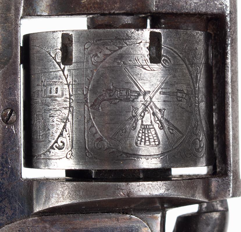 Model Allen & Wheelock Side Hammer Revolver, Third Issue, Cased, detail view 2