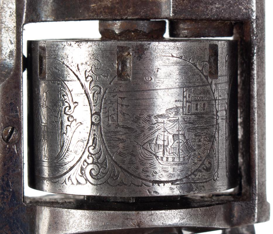 Model Allen & Wheelock Side Hammer Revolver, Third Issue, Cased, detail view 3