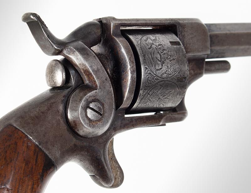 Model Allen & Wheelock Side Hammer Revolver, Third Issue, Cased, detail view 4