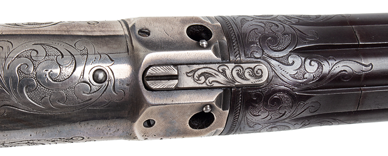 Robbins and Lawrence Revolving Hammer Pepperbox, Windsor, Vermont Ring Trigger, Concealed Hammer, Serial number: 3488, Silver Plated, Engraved Likely NEW OLD STOCK, a FINE Example, tang
