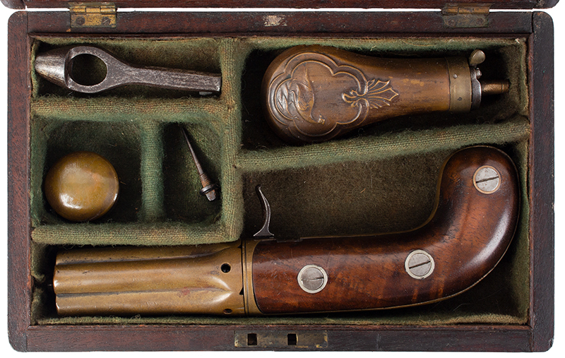 Very Rare Cased (Edwin) Budding Patent Second Model [2B] 5-Shot Pepperbox Hand Revolving Budding…the earliest percussion revolver/pepperbox Edwin Beard Budding (1795-1846) Worked and died in Gloucestershire, England, case view 1