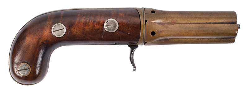 Very Rare Cased (Edwin) Budding Patent Second Model [2B] 5-Shot Pepperbox Hand Revolving Budding…the earliest percussion revolver/pepperbox Edwin Beard Budding (1795-1846) Worked and died in Gloucestershire, England, right facing