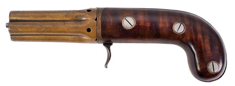 Very Rare Cased (Edwin) Budding Patent Second Model [2B] 5-Shot Pepperbox Hand Revolving Budding…the earliest percussion revolver/pepperbox Edwin Beard Budding (1795-1846) Worked and died in Gloucestershire, England, left facing