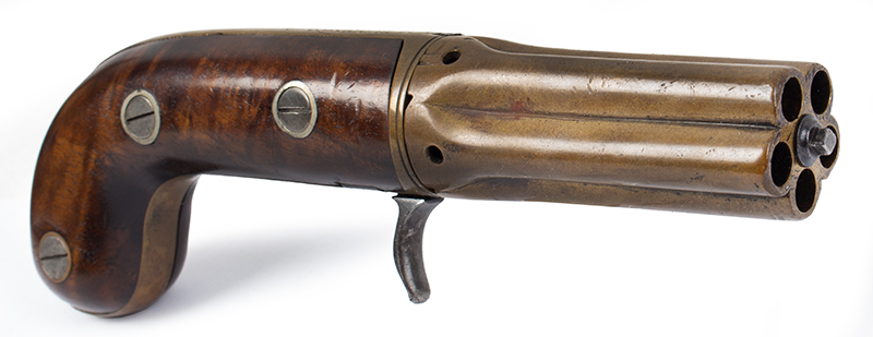 Very Rare Cased (Edwin) Budding Patent Second Model [2B] 5-Shot Pepperbox Hand Revolving Budding…the earliest percussion revolver/pepperbox Edwin Beard Budding (1795-1846) Worked and died in Gloucestershire, England, angle view