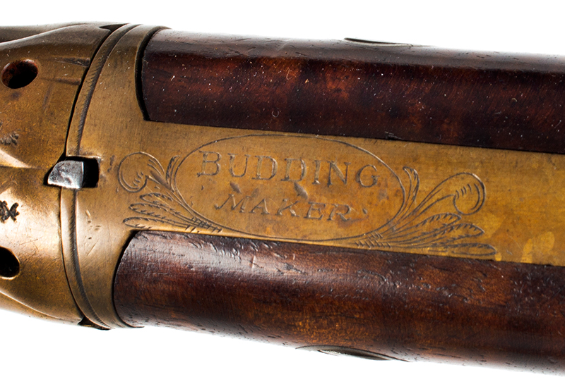 Very Rare Cased (Edwin) Budding Patent Second Model [2B] 5-Shot Pepperbox Hand Revolving Budding…the earliest percussion revolver/pepperbox Edwin Beard Budding (1795-1846) Worked and died in Gloucestershire, England, maker view