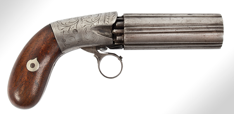 Blunt & Syms Underhammer Pepperbox, Ring Trigger, Concealed Hammer New York, NY, right facing