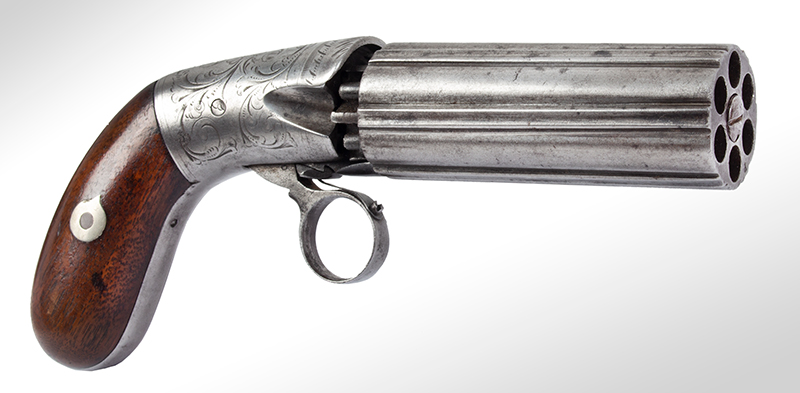 Blunt & Syms Underhammer Pepperbox, Ring Trigger, Concealed Hammer New York, NY, angle view