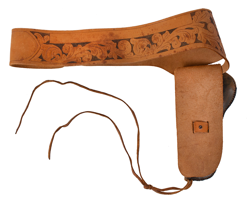 Vintage Western Gun Belt & Holster, Tooled Leather, RH Draw Anonymous Maker, America, entire view 2