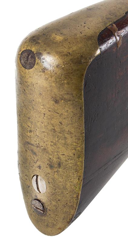 First Model Brown Bess, Pattern 1756 Long Land Musket, Original Flint, butt plate 1