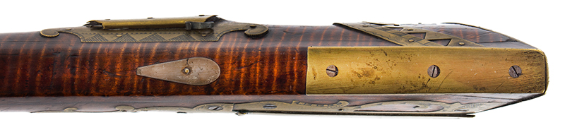 A Fine Berks County Swivel Breech Flintlock Rifle Attributed to Adam Angstadt           Berks County, Pennsylvania, butt plate 2