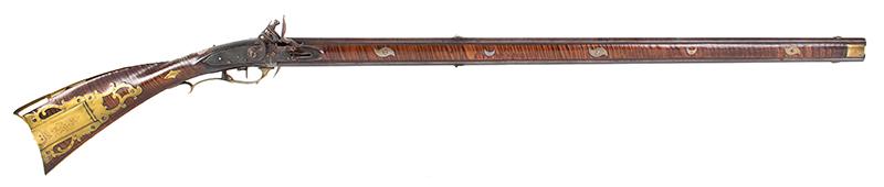 A Fine Berks County Swivel Breech Flintlock Rifle Attributed to Adam Angstadt           Berks County, Pennsylvania, right facing