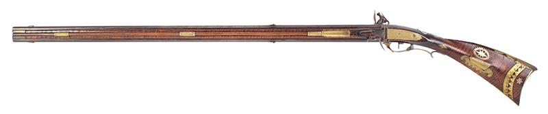 A Fine Berks County Swivel Breech Flintlock Rifle Attributed to Adam Angstadt           Berks County, Pennsylvania, left facing