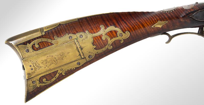 A Fine Berks County Swivel Breech Flintlock Rifle Attributed to Adam Angstadt           Berks County, Pennsylvania, patch box