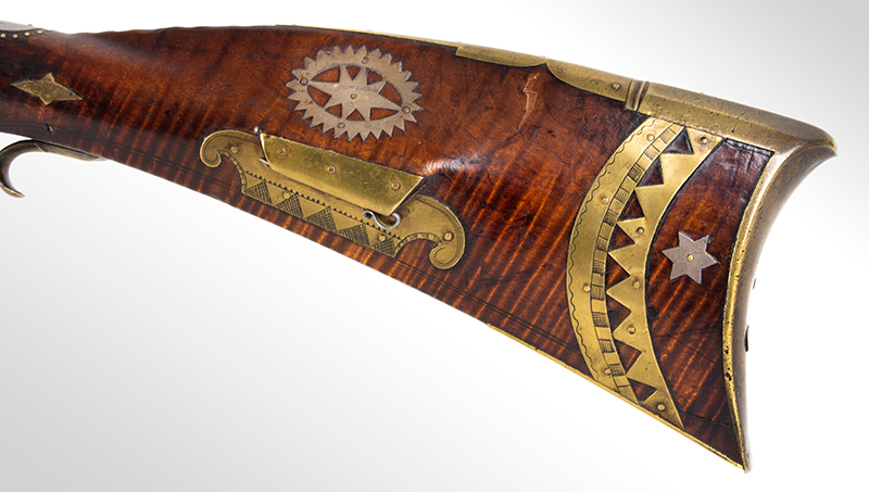A Fine Berks County Swivel Breech Flintlock Rifle Attributed to Adam Angstadt           Berks County, Pennsylvania, inlay 1