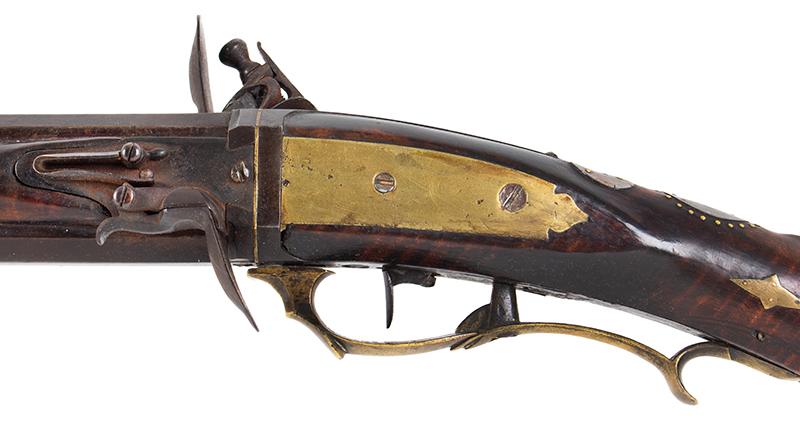 A Fine Berks County Swivel Breech Flintlock Rifle Attributed to Adam Angstadt           Berks County, Pennsylvania, side plate