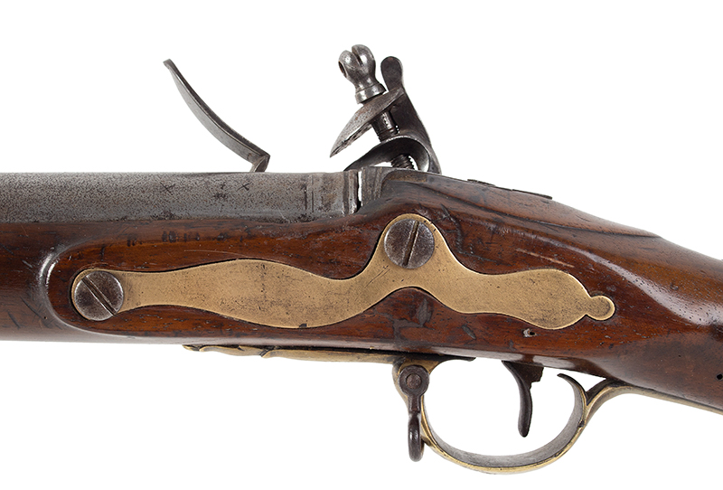 18th Century British Commercial Musket, Military Style Flintlock, Ketland & Co.  Brown Bess Flintlock Musket with Historic ''York Volunteer'' Inscription Birmingham, England Stock stamped: YC 167 for York Castle Armory or York Militia, side plate