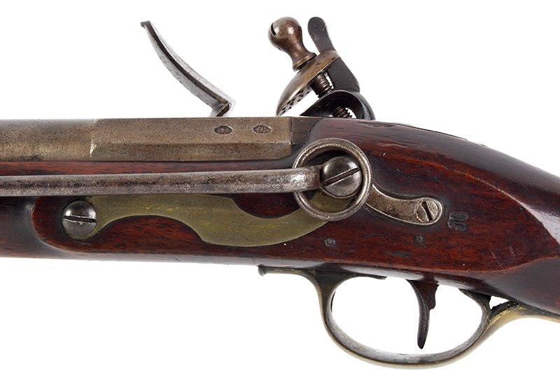 British Volunteer Rifled Cavalry Saddle Ring Carbine by Henry Nock  Model Pattern 1799, Issue Number 14 of 20 Made, side plate