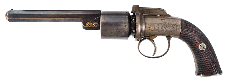 Cased 54-Bore Percussion Transitional Six-Shot Revolver  Retailed by Reilly, 502 New Oxford Street, London, left facing