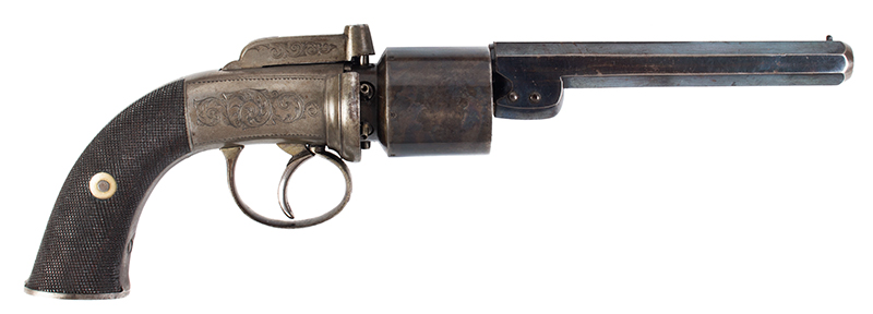 Cased 54-Bore Percussion Transitional Six-Shot Revolver  Retailed by Reilly, 502 New Oxford Street, London, right facing
