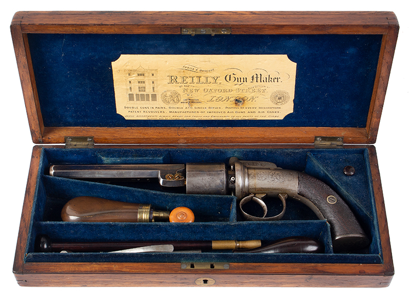 Cased 54-Bore Percussion Transitional Six-Shot Revolver  Retailed by Reilly, 502 New Oxford Street, London, case view 1