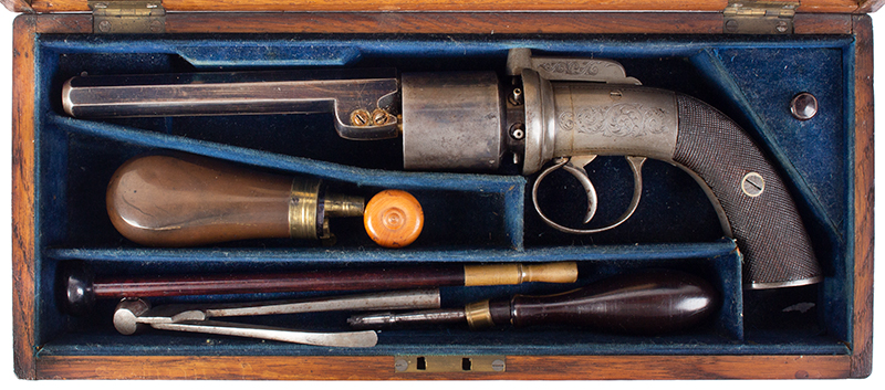 Cased 54-Bore Percussion Transitional Six-Shot Revolver  Retailed by Reilly, 502 New Oxford Street, London, case view 2