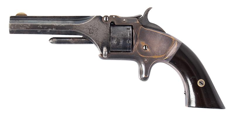 "Cased Smith & Wesson Model 1, 2nd Issue, Presented .22-Caliber Short Rimfire, 7-Shot Non-Fluted Cylinder, 3 3/16"" Octagonal Barrel, left facing"