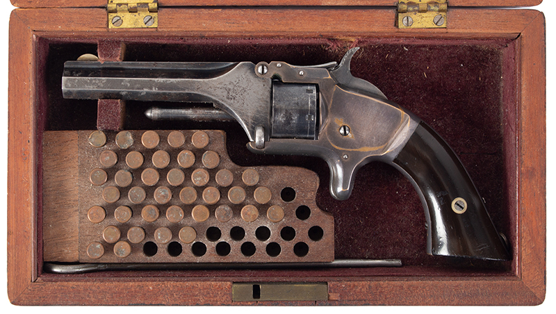 """Cased Smith & Wesson Model 1, 2nd Issue, Presented .22-Caliber Short Rimfire, 7-Shot Non-Fluted Cylinder, 3 3/16"""" Octagonal Barrel, in case view"""